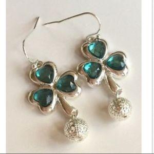 Silver Shamrock Earrings Irish Celtic Green